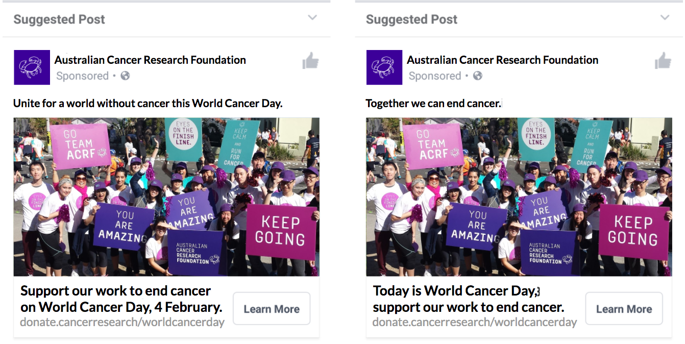 Australian Cancer Research Foundation_Facebook Ads